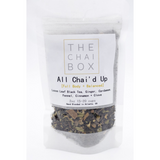 An ode to traditional masala (spice) chai, All Chai'd Up is infused with both Eastern and Western flavors with warm earthy balanced aromas of ginger, clove, cinnamon, sweet notes of cardamom, and fennel.  Blend Amount: 2.5 oz pouch.