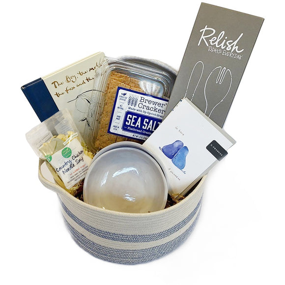 Everything about our ever so sorry basket is about trying to find comfort in a difficult situation. It expresses our sympathy, our thoughts or our apologies while also trying to comfort the person that receives it. Everything in the basket from soup to books, melamine serving utensils to notes of thought and bowls to enjoy the comforts of home and family all help to ease the pain. These baskets are perfect for sympathy, loss, apologies, illness, hardship or just a hard day.
