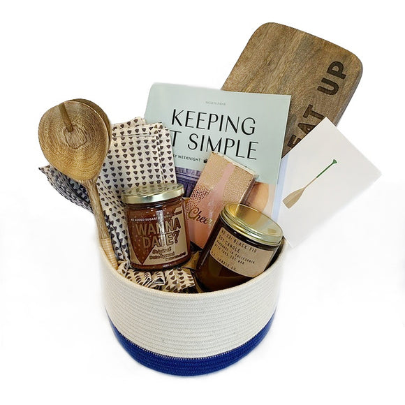 Our complete quiet night in basket in medium. It contains all of the perfect ingredients for a quiet night in or a great gift for a new home or for a client or special friend.