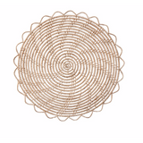 "These naturally woven placemats are 13"" and perfect for any table.  They come in a set of 4."