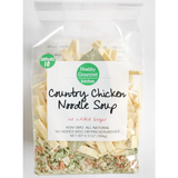 This delicious Country Chicken Noodle Soup is delicious and with no added sugar or preservatives, you know what you are eating and serving are 100% delicious. Perfect for a day where you or the person you are giving it to just needs a little extra comfort.