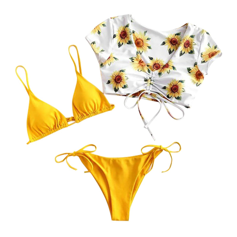 Sexy Sling Thong Bikini Set Bandage Push Up Bra T-shirt Three Piece Bathing Suit Bikini Women Sunflower Print Swimsuit #LR2