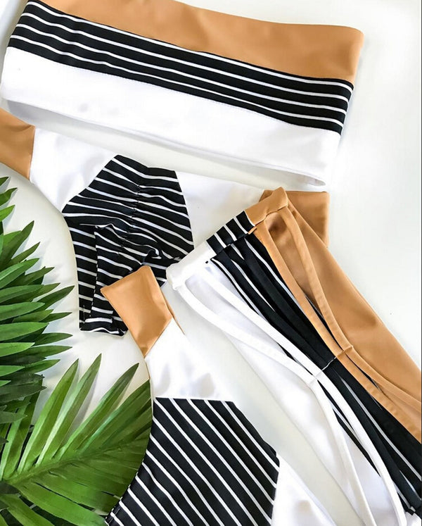 Women Stripe Strapless Sexy Bikini Push Up Bra
