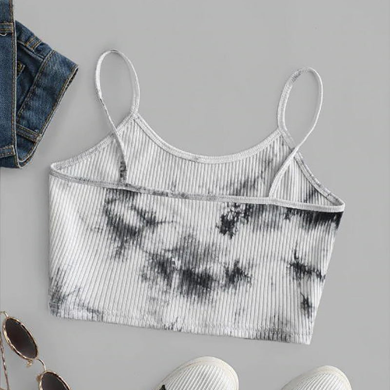 Tenue Sexy Tie Dye Crop Top Women Ladies Print Sleeveless