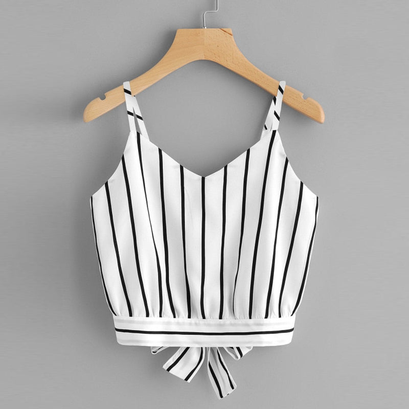 Crop Top Women 2020 Summer Self Tie Back V Neck