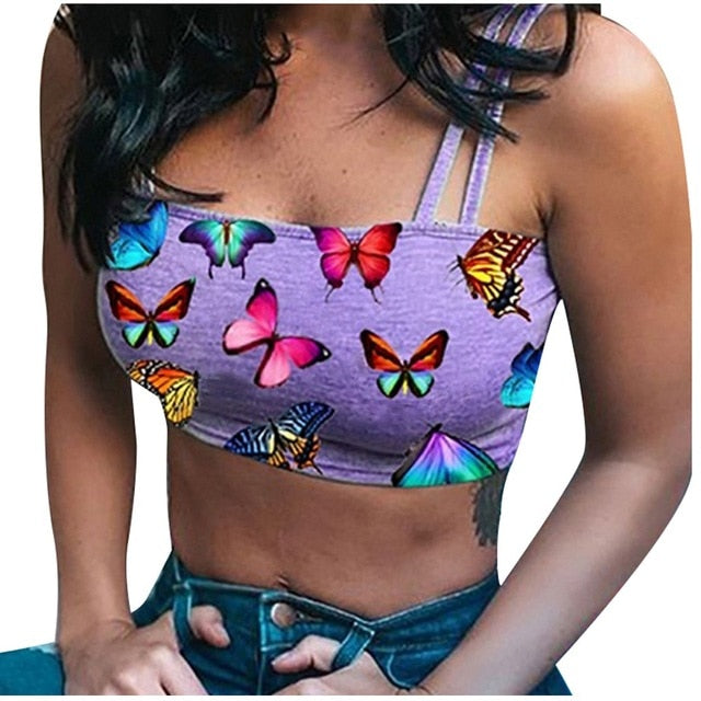 Women Butterfly Printed Camis Sexy Crop Top Tanks Summer Casual