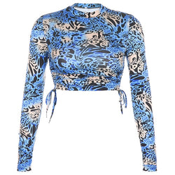 Woman T-shirts Blue Leopard Print
