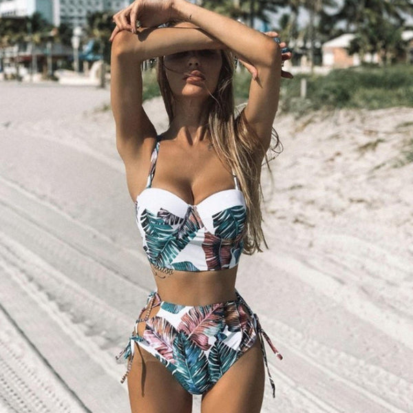 Coconut tree Print 2020 Bikini Women Two Piece