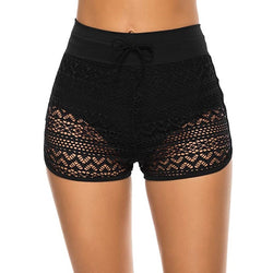Sexy Black Mesh Women's Swimming Trunks Plus Size