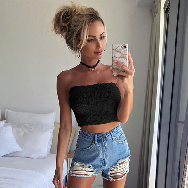 Women sexy Strapless Elastic Boob Bandeau Tube Tops