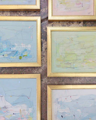 Grouping of Alexis Walter paintings on panel with stylish gold frames