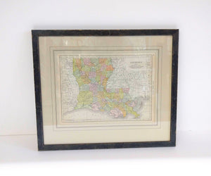 Framed Antique Map of Louisiana