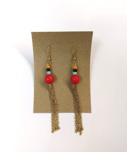 glass bead earrings in red