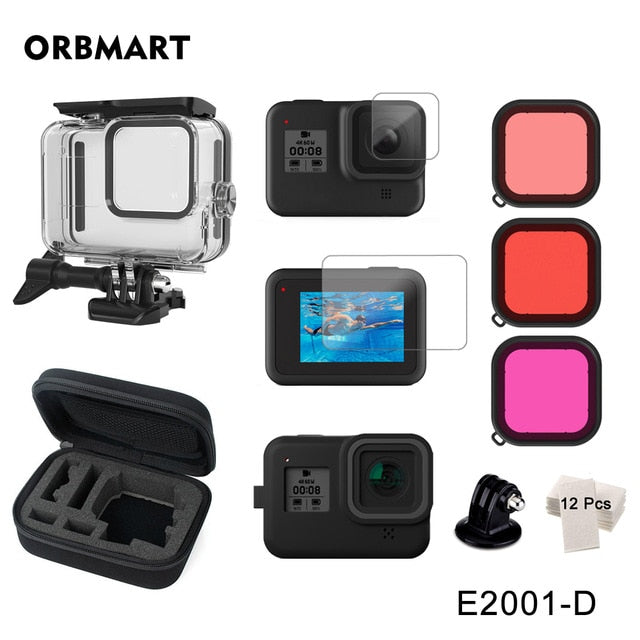 60m Waterproof Case for GoPro Hero 8 Black Underwater Dive Housing Protective Diving Cover Mount for Go Pro 8 Camera Accessories
