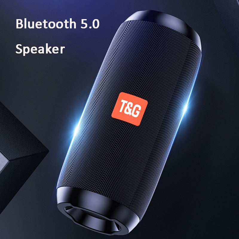 TG117 Speakers Portable Bluetooth Speaker Wireless Column Speaker Waterproof Super Bass Stereo with FM Radio AUX TF Music Player