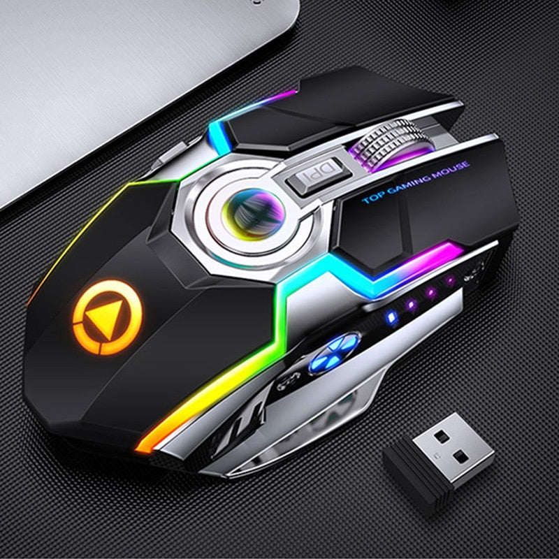 Gaming Mouse Rechargeable Wireless Mouse Silent 1600 DPI Ergonomic 7 Keys RGB LED Backlit 2.4G USB Optical For Laptop Computer