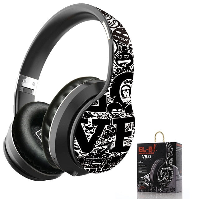 Wireless Bluetooth 5.0 Headphones Over Ear Headest Graffiti Design Foldable Headphone with Mic Hi-Fi Stereo For phone pc laptop