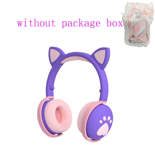 AIKSWE Bluetooth Headphones glowing cute LED Cat Ear Paw Girls Gift Kids Headset Wireless HIFI Stereo Bass 3.5mm Plug With Mic