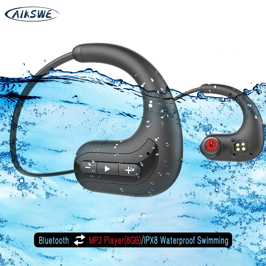 AIKSWE Wireless headphones Bluetooth Earphones 8GB IPX8 Waterproof MP3 Music Player Swimming Diving Sport Headset For Huawei