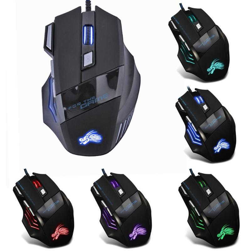VODOOL Wired Gaming Mouse 7 Buttons 5500 DPI LED Optical Computer Mouse Gamer Mice For PC Laptop Notebook USB Cable Game Mouse