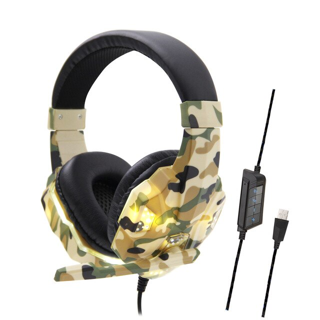Professional Camouflage Gamer Headset LED for Computer Gamer Stereo Head-mounted Headphone Computer Earphones for PS4 Ps3 Xbox