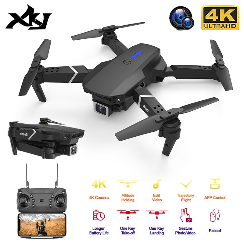 XKJ 2020 New Quadcopter E525 WIFI FPV Drone With Wide Angle HD 4K 1080P Camera Height Hold RC Foldable Quadcopter Dron Gift Toy