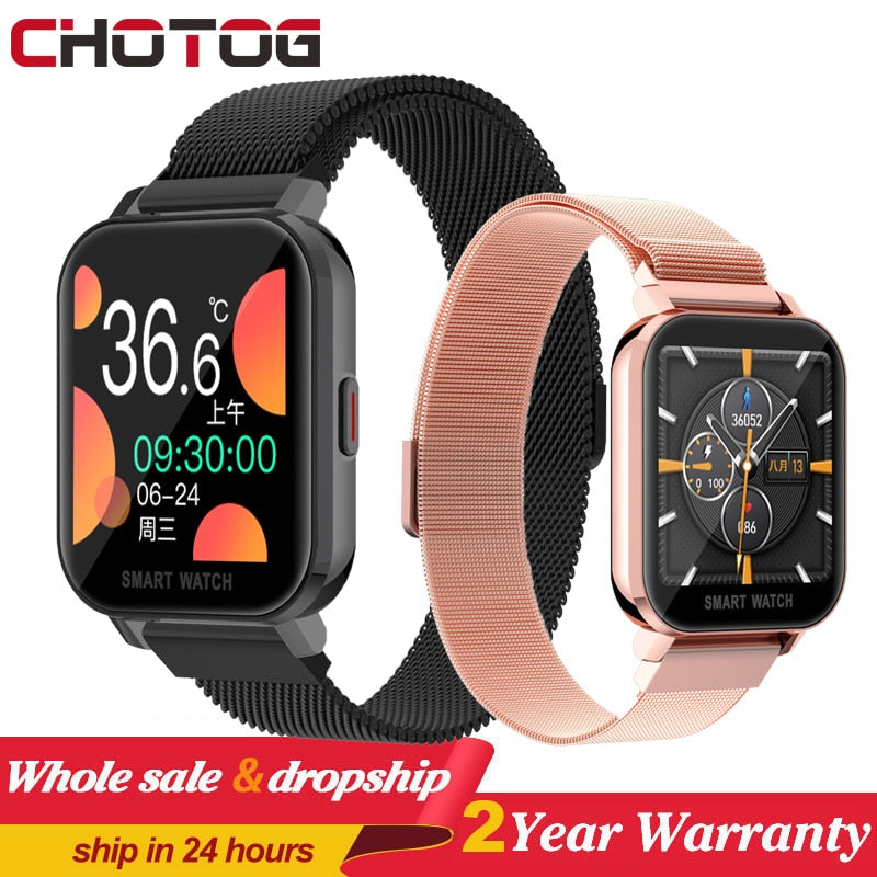 1.54 Full Touch Smart Watch Men Women Body Temperature Smartwatch Heart Rate Monitor Music Control Sport Watches For Android IOS