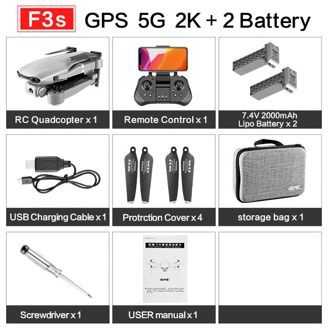 F3 drone GPS 4K 5G WiFi live video FPV quadrotor flight 25 minutes rc distance 500m drone Profesional HD wide-an dual camera