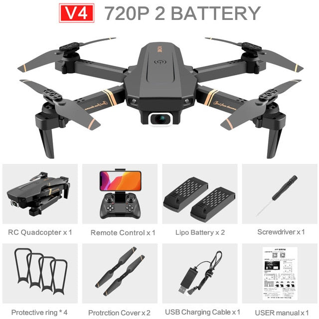 V4 Rc Drone 4k HD Wide Angle Camera 1080P WiFi fpv Drone Dual Camera Quadcopter Real-time transmission Helicopter Toys