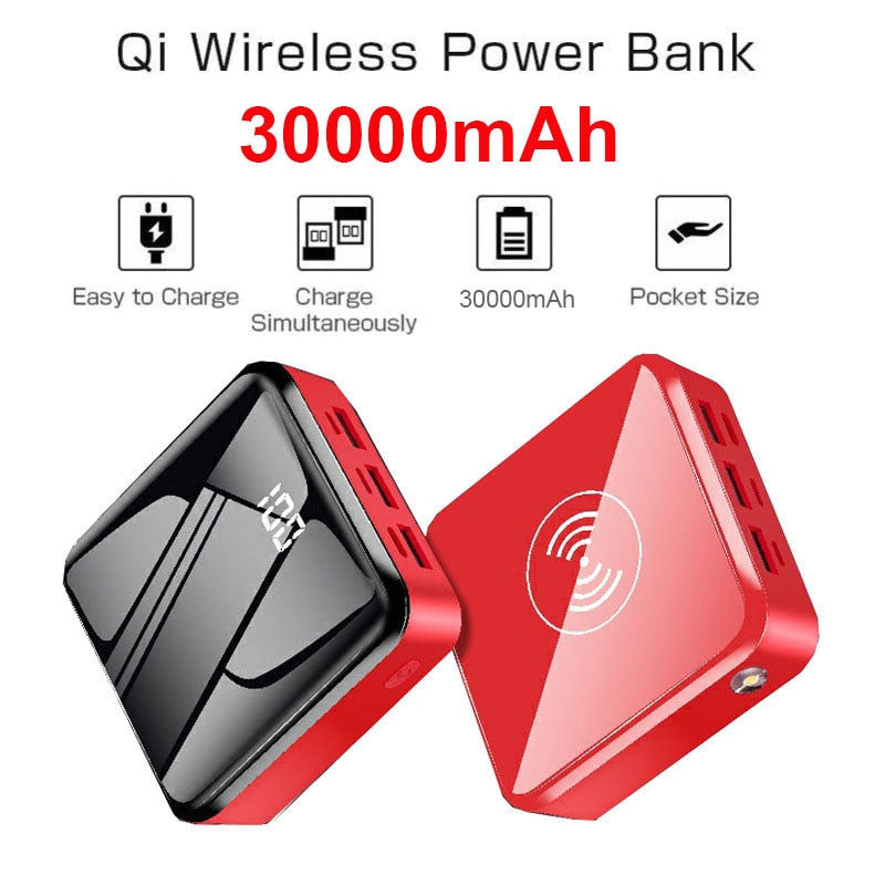 Power Bank 30000mAh Portable Fast Charger Quick Charge Qi Wireless Charging for iPhone 12 11 Xs 8 Huawei Samsung PD Poverbank