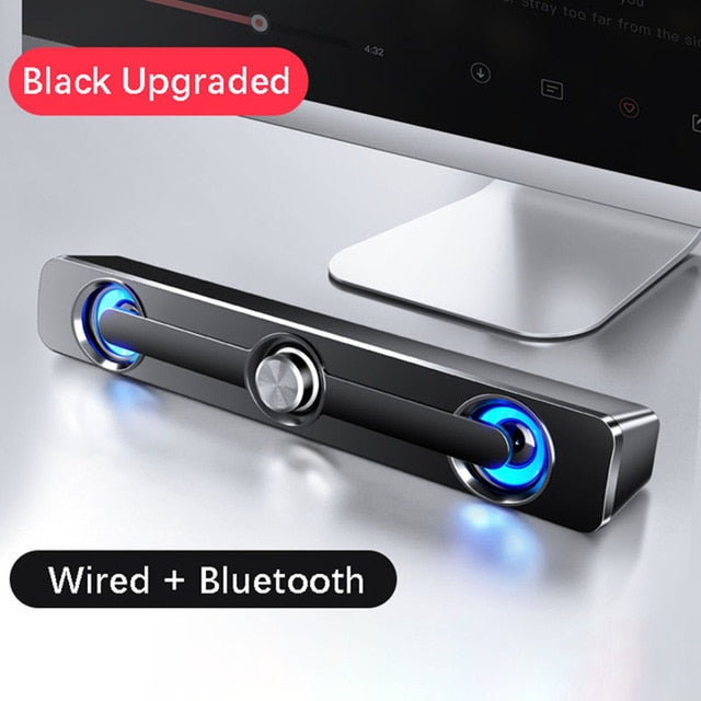 USB Wired Speaker Computer Bluetooth Speaker LED Light Bar Stereo Subwoofer Bass Speaker Surround Sound Box For PC Laptop Phone
