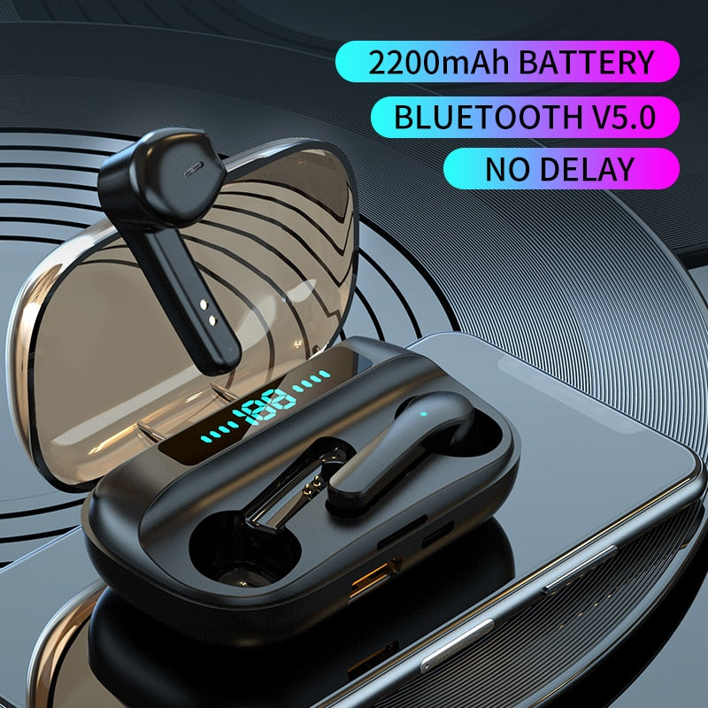 BlueTronix Bluetooth V5.0 Earphones Wireless Headsets With Microphone Sports Waterproof  2200mAh Charging Box