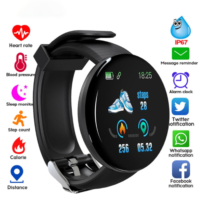D18 Bluetooth Smart Watch Men Women Heart Rate Blood Pressure Fitness Tracker Sport Smartwatch Watch for IOS Android Smart Clock