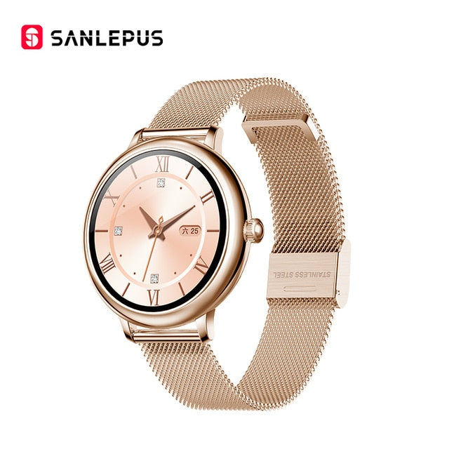2020 SANLEPUS Stylish Women's Smart Watch Luxury Waterproof Wristwatch Stainless Steel Casual Girls Smartwatch For Android iOS