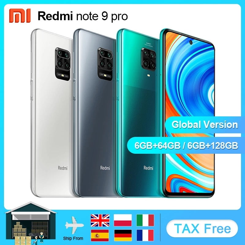 Global Version Xiaomi Redmi Note 9 Pro 6GB 64/128GB NFC Smartphone Android Snapdragon 720G Mobile Phone 6.67