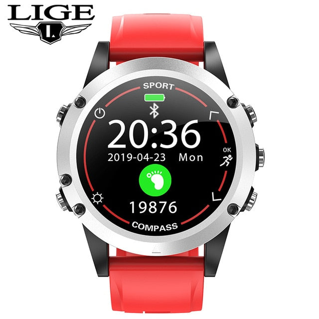 LIGE 2020 New Fashion Smart Watch Men IP68 Waterproof compass Sport Fitness Watch luxury Watch For Android ios smartwatch Mens