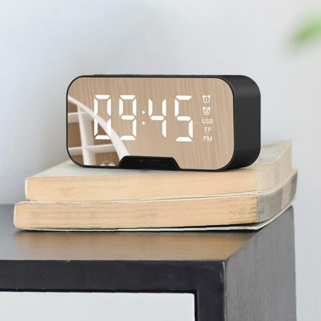 Multifunction Mirror Alarm Clock Bluetooth Speaker With FM Radio LED Mirror Snooze Wireless Subwoofer Music Player Table Clock