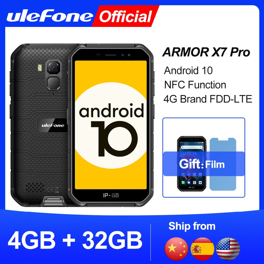 Ulefone Armor X7 Pro Android10 Rugged Phone 4GB RAM Smartphone Waterproof Mobile Phone Cell Phone ip68 NFC 4G LTE  2.4G/5G WLAN