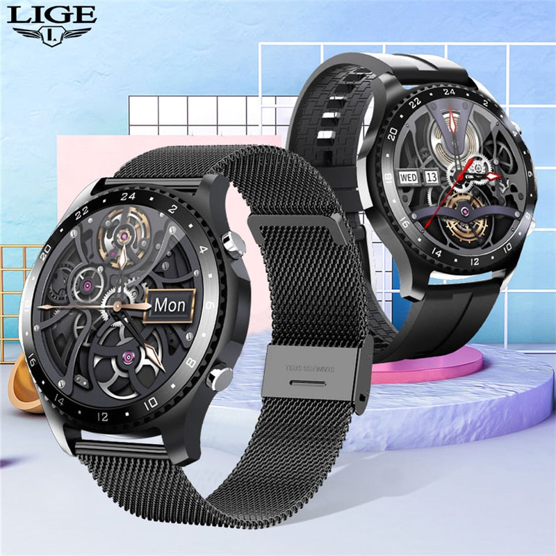 LIGE 2020 New Smart watch Men Bluetooth call waterproof Sports fitness watch health Tracker weather display smartwatch woman+Box