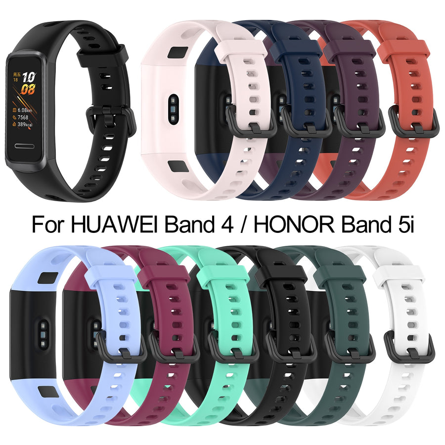 Soft Silicone Strap Buckle Replacement Watch Band Wrist Strap Sports Smart Watch Accessories For HUAWEI Band 4 Honor Band 5i