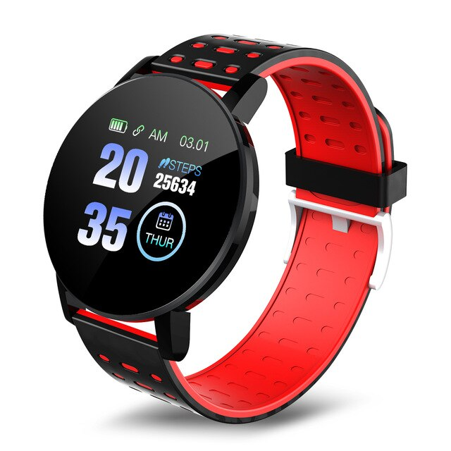 119 Plus Smart Watch Sports Tracker With Alarm Clock Blood Pressure Round Bluetooth Heart Rate Waterproof  for Android IOS