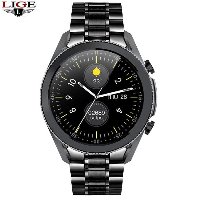 LIGE NEW 2020 Luxury brand mens watches Steel band Fitness watch Heart rate blood pressure Activity tracker Smart Watch For Men