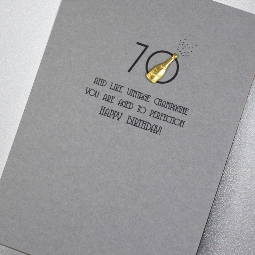 Card: 70th Birthday - Vintage Champagne