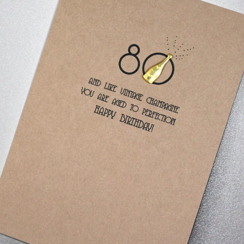Card: 80th Birthday - Vintage Champagne