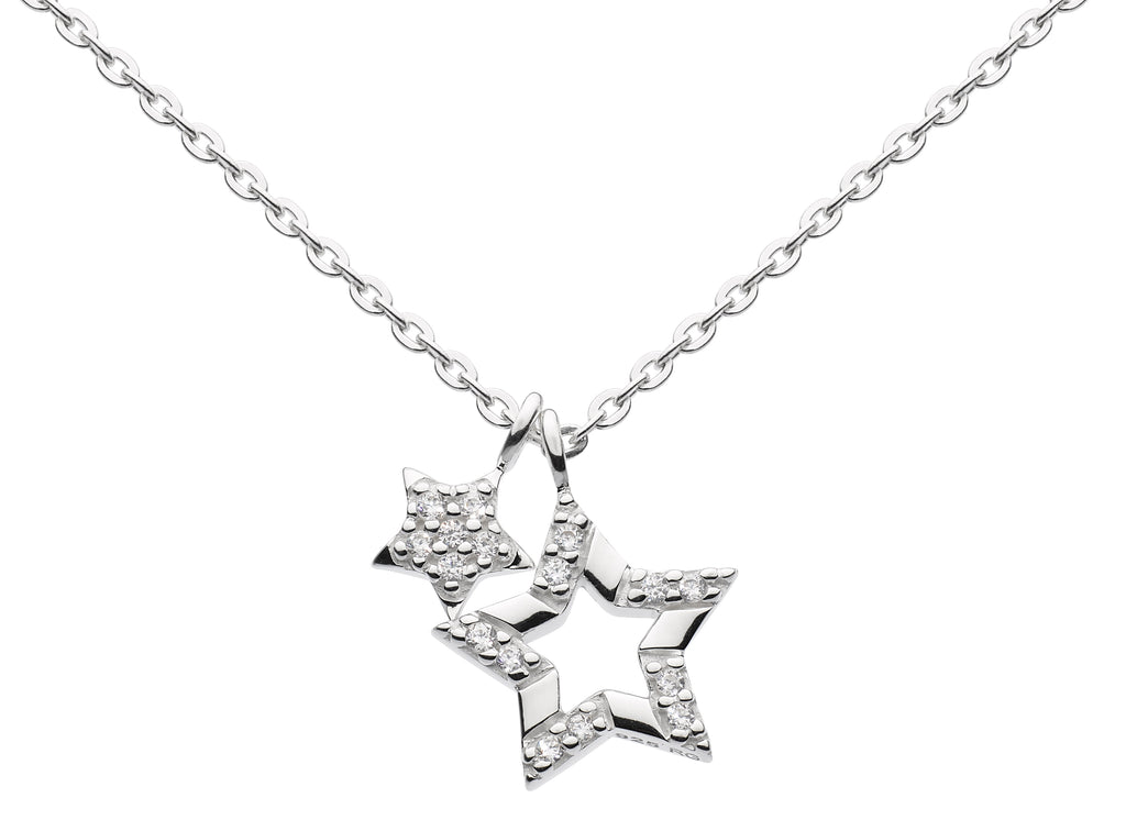 Sterling Silver and Cubic Zirconia Double Star Necklace by Dew