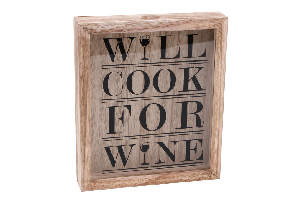 'Will Cook for Wine' Cork Box