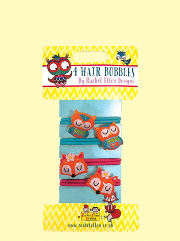 4 Hair Bobbles - Owl and Foxes