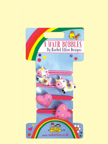 4 Hair Bobbles - Unicorns and Hearts
