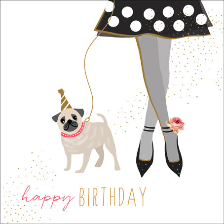 Card: Happy Birthday with a Pug