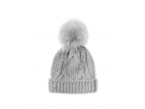 Cable Knitted Bobble Hat - Grey